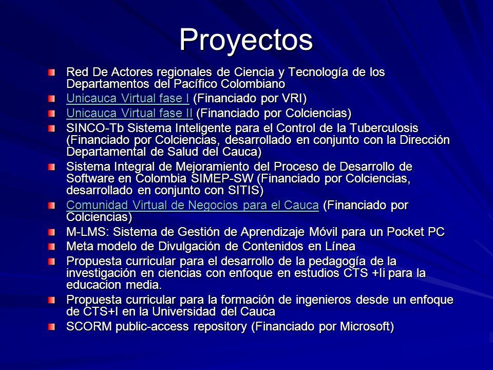 Proyectos Red De Actores regionales de Ciencia y Tecnología de los Departamentos del Pacífico Colombiano Unicauca Virtual fase IUnicauca Virtual fase