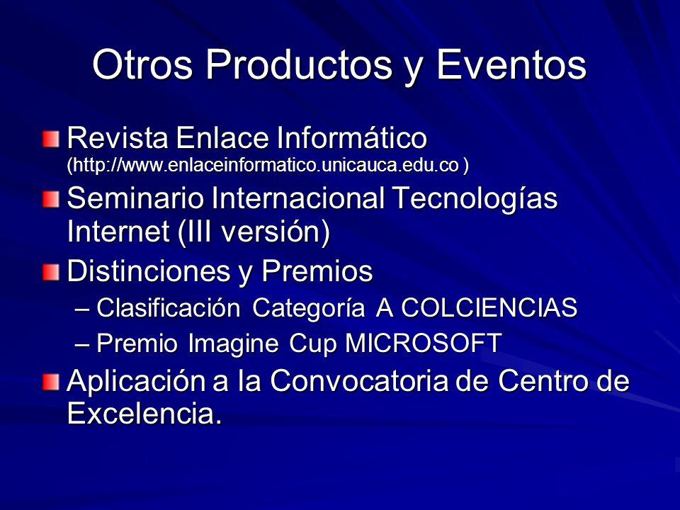 Otros Productos y Eventos Revista Enlace Informático (http://www.enlaceinformatico.unicauca.edu.co ) Seminario Internacional Tecnologías Internet (III