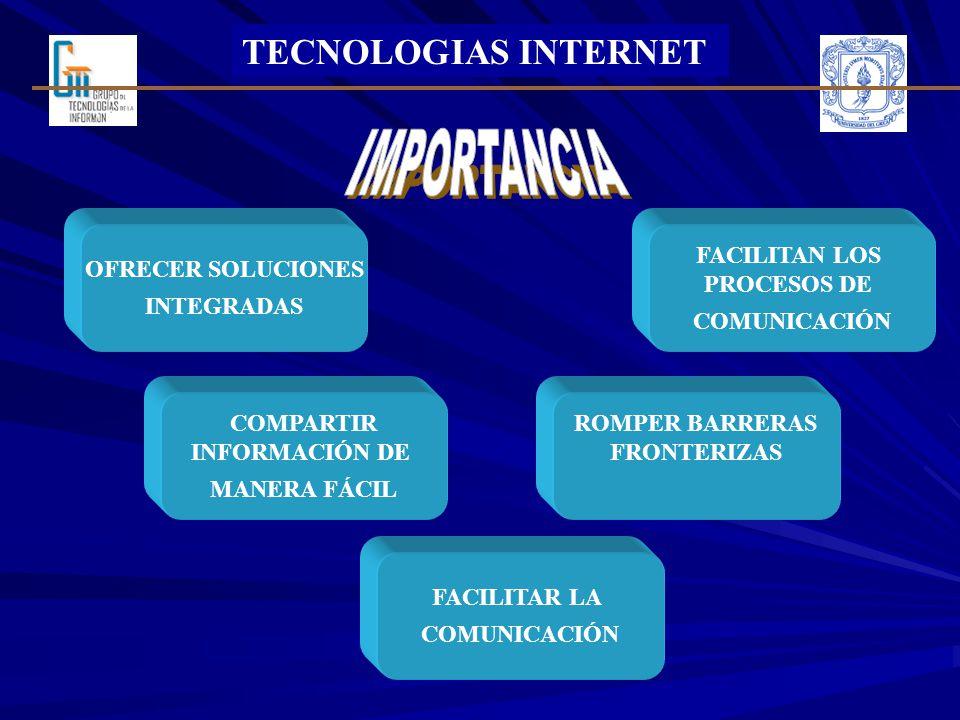 TECNOLOGIAS INTERNET OFRECER SOLUCIONES INTEGRADAS FACILITAN LOS PROCESOS DE COMUNICACIÓN ROMPER BARRERAS FRONTERIZAS COMPARTIR INFORMACIÓN DE MANERA FÁCIL FACILITAR LA COMUNICACIÓN