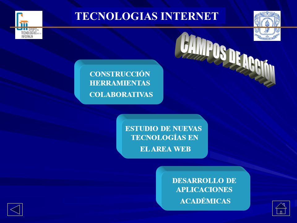 TECNOLOGIAS INTERNET CONSTRUCCIÓN HERRAMIENTAS COLABORATIVAS DESARROLLO DE APLICACIONES ACADÉMICAS ESTUDIO DE NUEVAS TECNOLOGÍAS EN EL AREA WEB