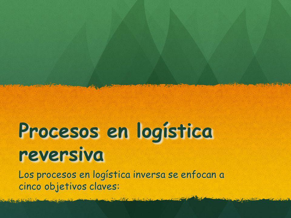 Procesos en logística reversiva Los procesos en logística inversa se enfocan a cinco objetivos claves: