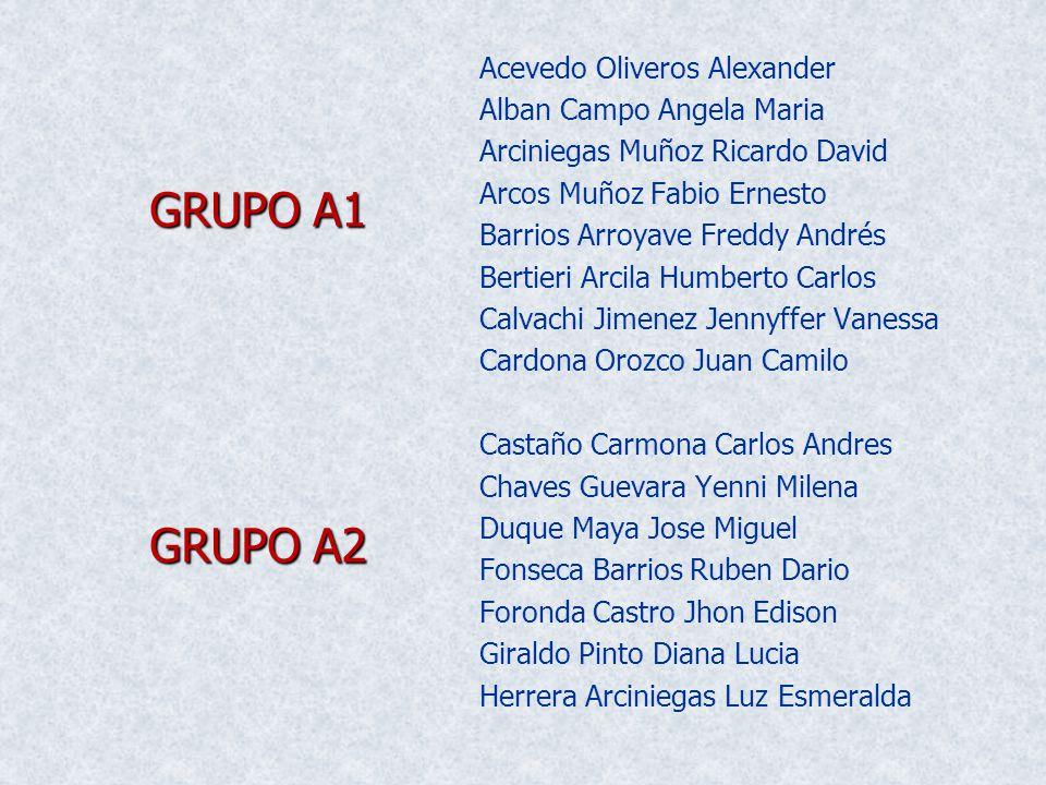 Acevedo Oliveros Alexander Alban Campo Angela Maria Arciniegas Muñoz Ricardo David Arcos Muñoz Fabio Ernesto Barrios Arroyave Freddy Andrés Bertieri A