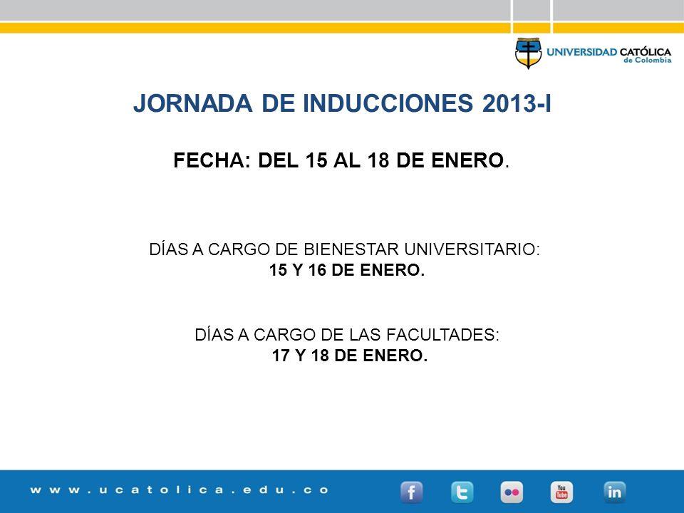 JORNADA DE INDUCCIONES 2013-I FECHA: DEL 15 AL 18 DE ENERO.