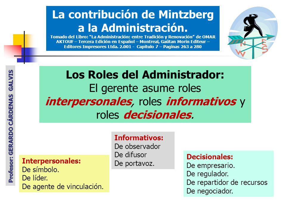 Los Roles del Administrador: El gerente asume roles interpersonales, roles informativos y roles decisionales.