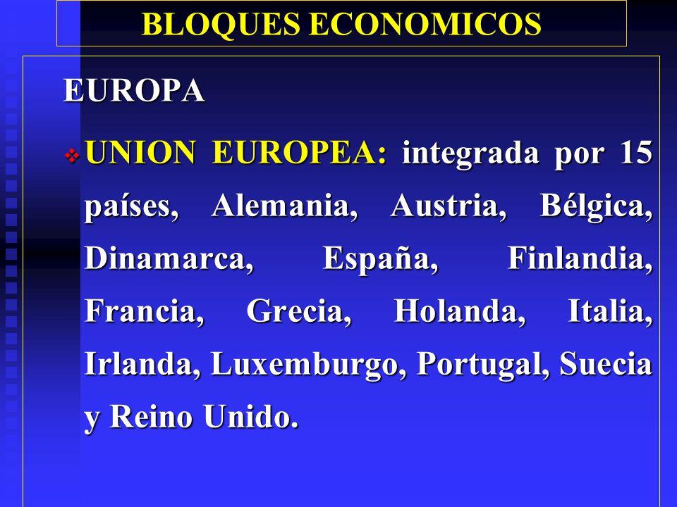 BLOQUES ECONOMICOS Mercosur: Mercado Común del Sur, (Miembros plenos: Argentina, Brasil, Paraguay y Uruguay).