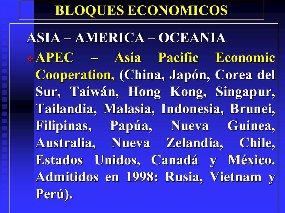 BLOQUES ECONOMICOS ASIA ASEAN: Association of South East Asian Nations, (cinco países fundadores: Indonesia, Malasia, Filipinas, Singapur y Tailandia).