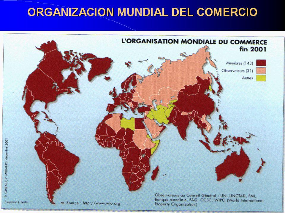 ADHESIONES A LA OMC Hay 28 países observadores; 25 están negociando adhesión AndorraArabia SauditaArgelia AzerbaiyánBahamasBelarus BhutánBosnia Cabo Verde Guinea Ecuat.KazajstánEtiopía Laos LíbanoRUSIA SamoaSanta SedeSanto Tomé SerbiaSeychellesSudán TayikistánTongaUcrania UzbekistánVanuatu Vietnam Yemen