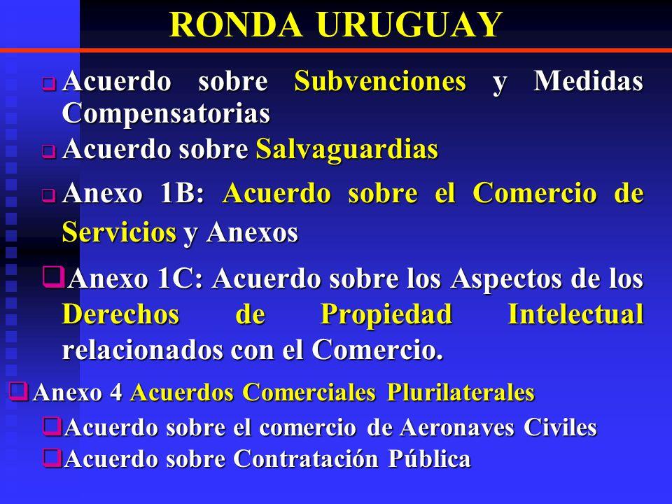 RONDA URUGUAY Acuerdo sobre las medidas en materia de Inversiones relacionadas con el comercio Acuerdo sobre las medidas en materia de Inversiones relacionadas con el comercio Acuerdo relativo a la aplicación del Art.