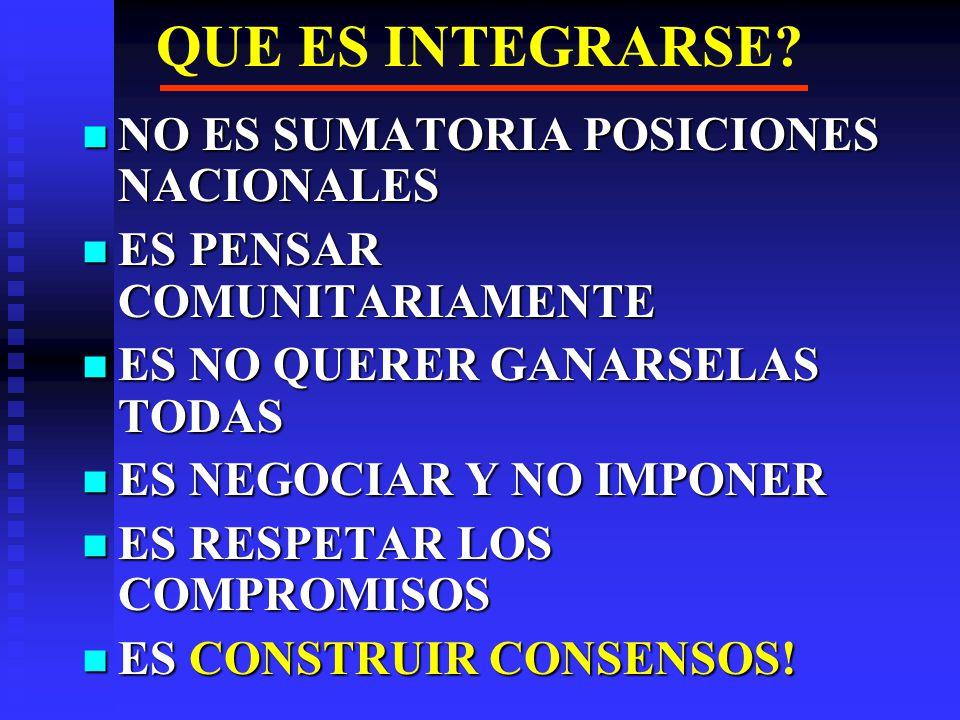 ESCENARIOS PARA LA CAN a) ABSORCION DE LA CAN POR MERCOSUR, DE NO SUPERAR CONTRADICCIONES INTERNAS Y SE ADHIERA A LIDERAZGO LULA / KIRCHNER a) ABSORCION DE LA CAN POR MERCOSUR, DE NO SUPERAR CONTRADICCIONES INTERNAS Y SE ADHIERA A LIDERAZGO LULA / KIRCHNER b) PROFUNDIZACION INTEGRACION ANDINA, POR POSEER OBJETIVOS MAYORES QUE ZONA LIBRE CIO Y PERTENENCIA A UN VECINDARIO DEL CUAL NO SE PUEDE SALIR b) PROFUNDIZACION INTEGRACION ANDINA, POR POSEER OBJETIVOS MAYORES QUE ZONA LIBRE CIO Y PERTENENCIA A UN VECINDARIO DEL CUAL NO SE PUEDE SALIR