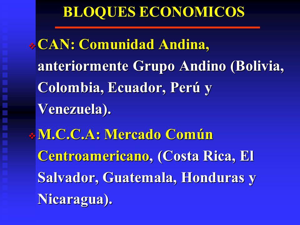 BLOQUES ECONOMICOS CAN: Comunidad Andina, anteriormente Grupo Andino (Bolivia, Colombia, Ecuador, Perú y Venezuela).