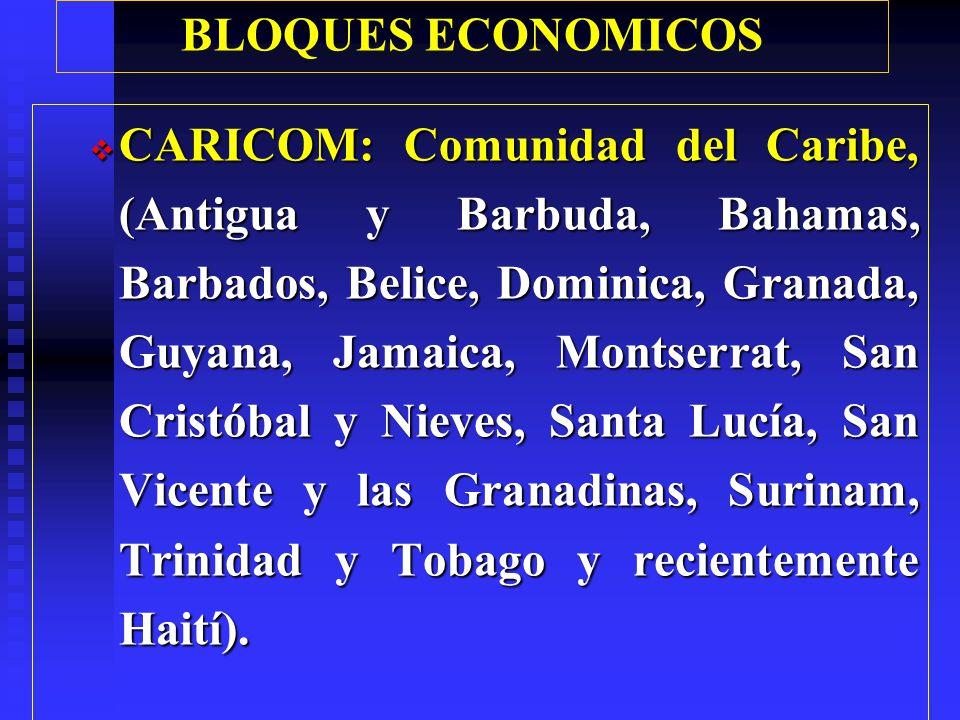 BLOQUES ECONOMICOS CARICOM: Comunidad del Caribe, (Antigua y Barbuda, Bahamas, Barbados, Belice, Dominica, Granada, Guyana, Jamaica, Montserrat, San Cristóbal y Nieves, Santa Lucía, San Vicente y las Granadinas, Surinam, Trinidad y Tobago y recientemente Haití).