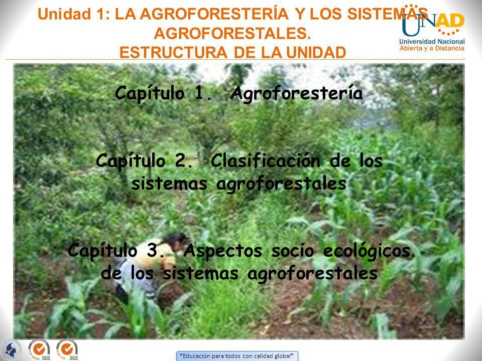 Educación para todos con calidad global Unidad 1: LA AGROFORESTERÍA Y LOS SISTEMAS AGROFORESTALES. ESTRUCTURA DE LA UNIDAD Capítulo 1. Agroforestería