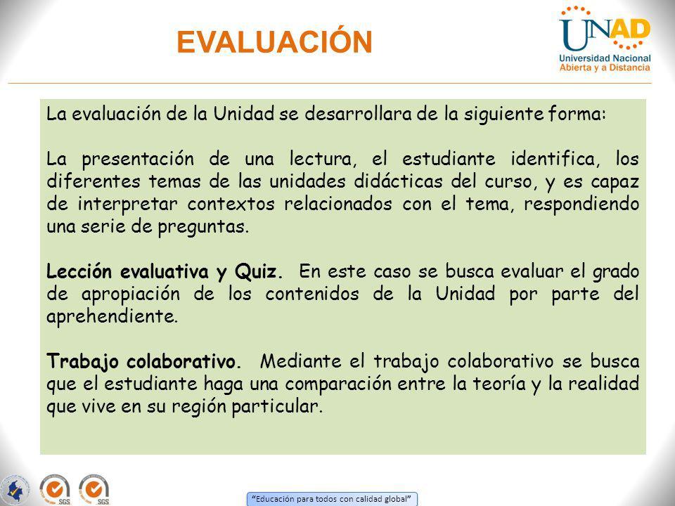 Educación para todos con calidad global EVALUACIÓN La evaluación de la Unidad se desarrollara de la siguiente forma: La presentación de una lectura, e