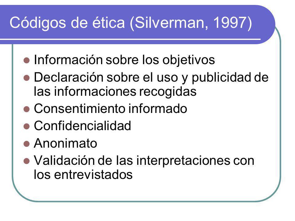 Códigos de ética (Silverman, 1997) Información sobre los objetivos Declaración sobre el uso y publicidad de las informaciones recogidas Consentimiento informado Confidencialidad Anonimato Validación de las interpretaciones con los entrevistados