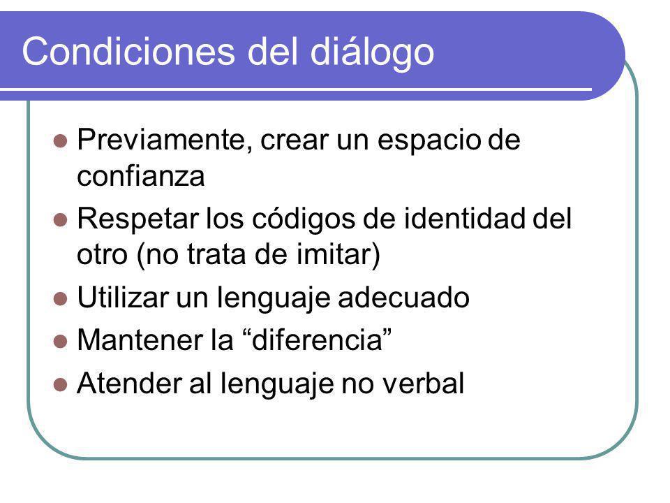 Condiciones del diálogo Previamente, crear un espacio de confianza Respetar los códigos de identidad del otro (no trata de imitar) Utilizar un lenguaje adecuado Mantener la diferencia Atender al lenguaje no verbal