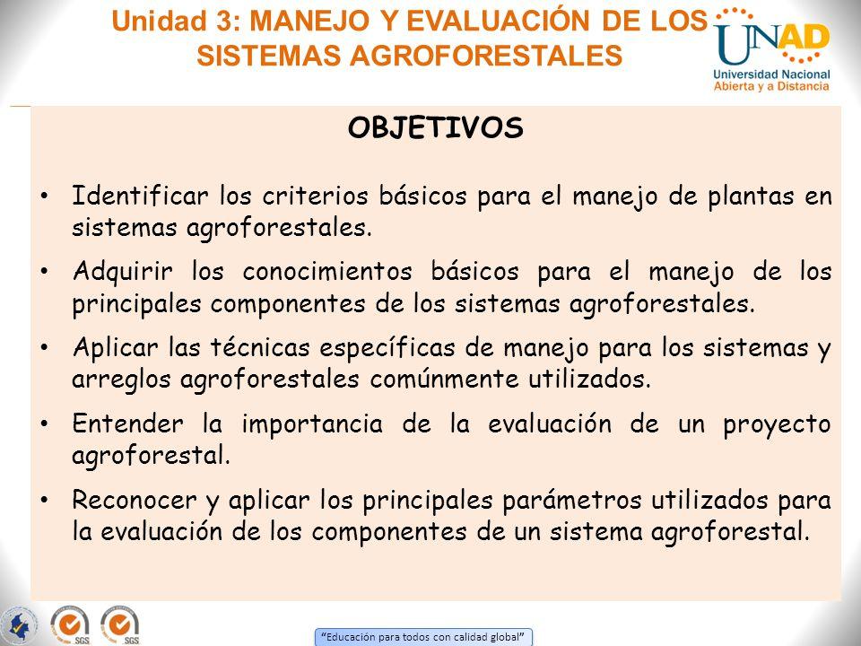 Educación para todos con calidad global Unidad 3: MANEJO Y EVALUACIÓN DE LOS SISTEMAS AGROFORESTALES OBJETIVOS Identificar los criterios básicos para