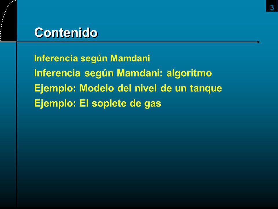 3 Contenido Inferencia según Mamdani Inferencia según Mamdani: algoritmo Ejemplo: Modelo del nivel de un tanque Ejemplo: El soplete de gas