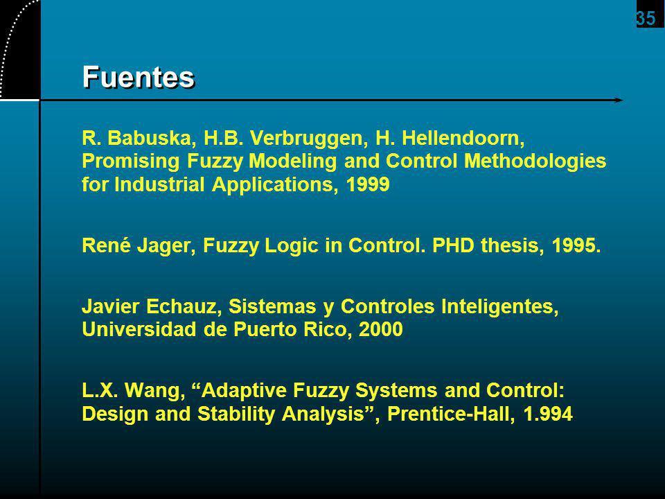 35 Fuentes R. Babuska, H.B. Verbruggen, H. Hellendoorn, Promising Fuzzy Modeling and Control Methodologies for Industrial Applications, 1999 René Jage