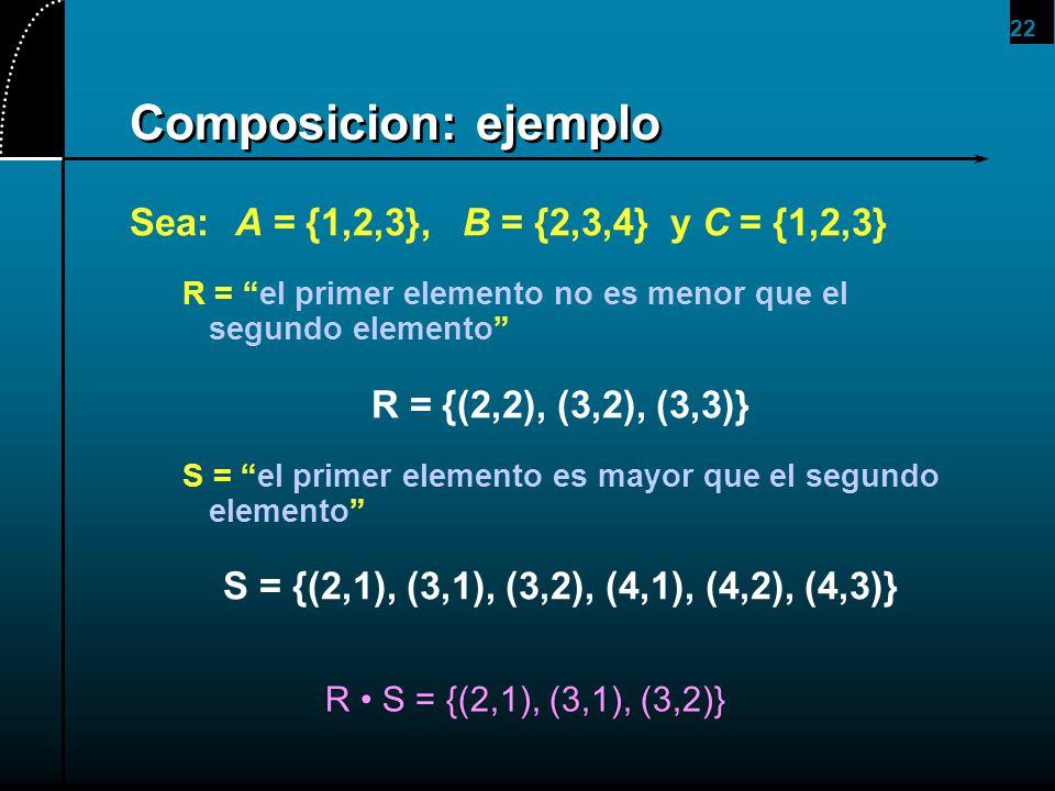 22 Composicion: ejemplo Sea:A = {1,2,3}, B = {2,3,4} y C = {1,2,3} R = el primer elemento no es menor que el segundo elemento R = {(2,2), (3,2), (3,3)