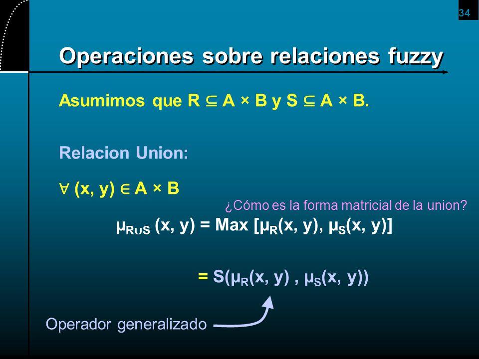 34 Operaciones sobre relaciones fuzzy Asumimos que R A × B y S A × B. Relacion Union: (x, y) A × B μ R S (x, y) = Max [μ R (x, y), μ S (x, y)] = S(μ R