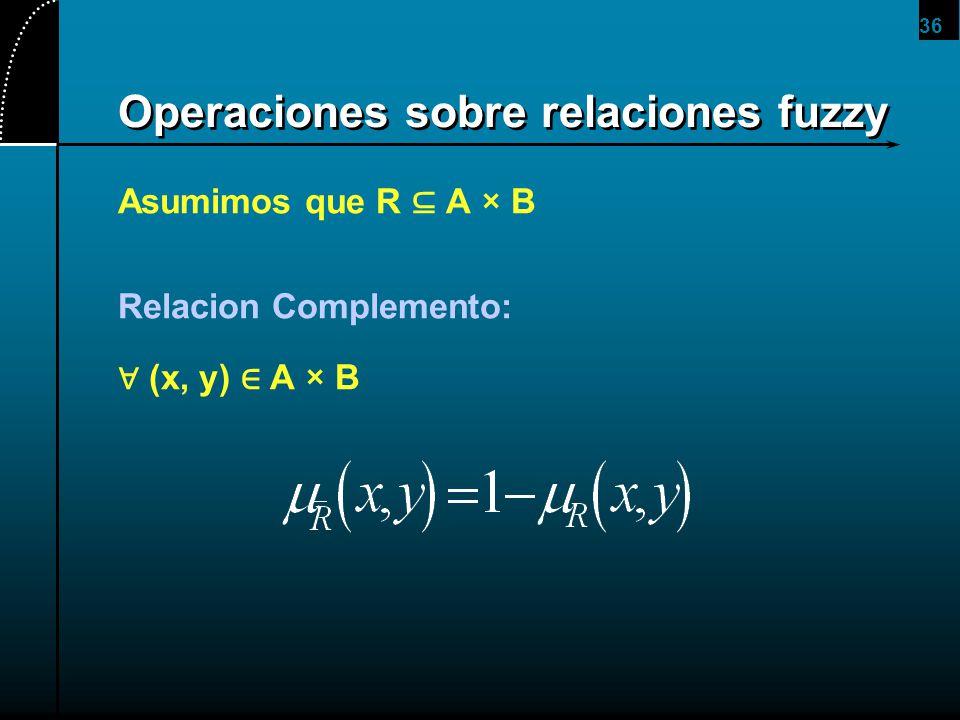 36 Operaciones sobre relaciones fuzzy Asumimos que R A × B Relacion Complemento: (x, y) A × B