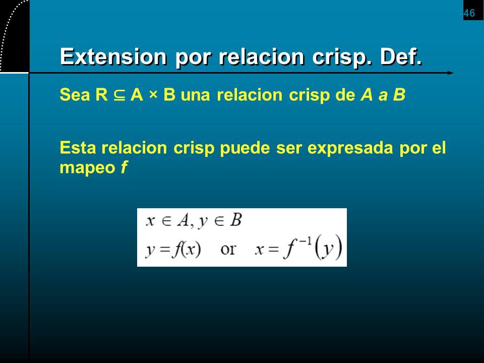 46 Extension por relacion crisp. Def. Sea R A × B una relacion crisp de A a B Esta relacion crisp puede ser expresada por el mapeo f