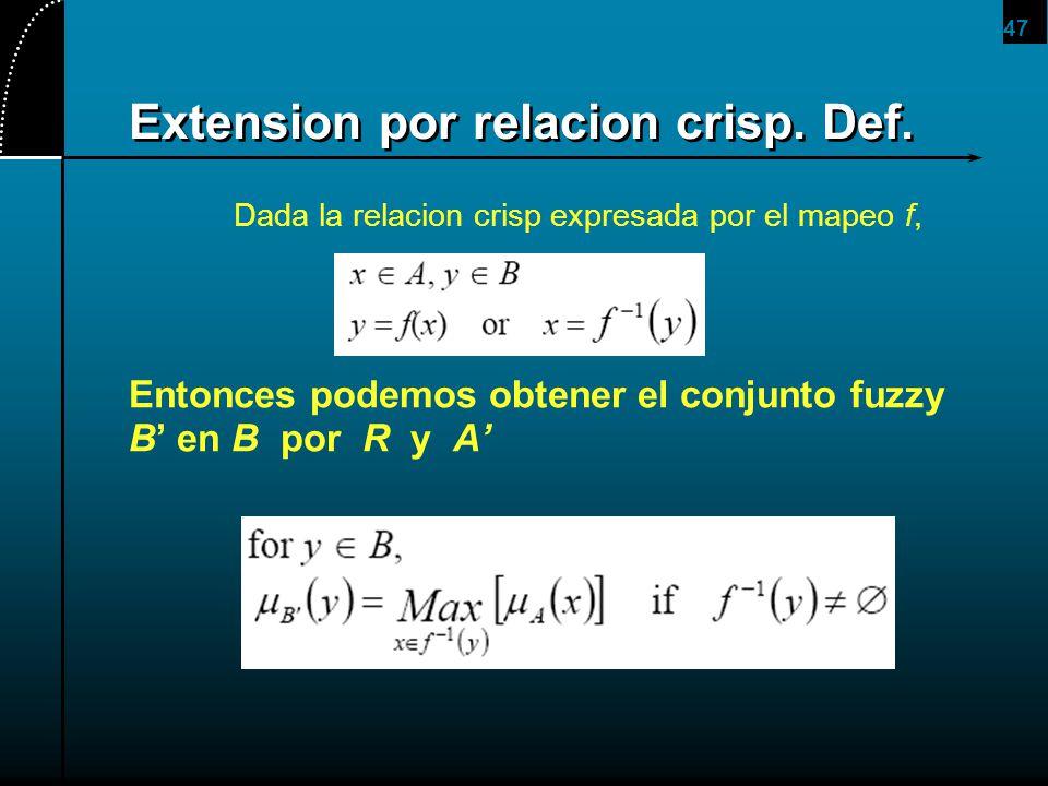47 Extension por relacion crisp. Def. Dada la relacion crisp expresada por el mapeo f, Entonces podemos obtener el conjunto fuzzy B en B por R y A