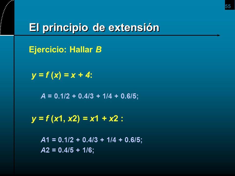 55 El principio de extensión Ejercicio: Hallar B y = f (x) = x + 4: A = 0.1/2 + 0.4/3 + 1/4 + 0.6/5; y = f (x1, x2) = x1 + x2 : A1 = 0.1/2 + 0.4/3 + 1