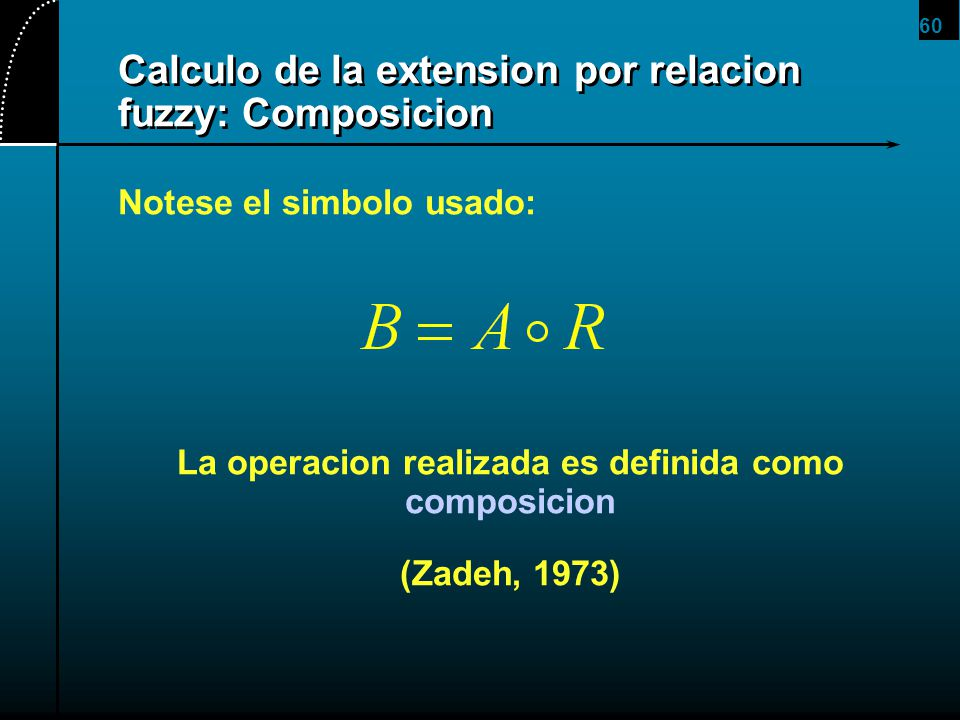 60 Calculo de la extension por relacion fuzzy: Composicion Notese el simbolo usado: La operacion realizada es definida como composicion (Zadeh, 1973)