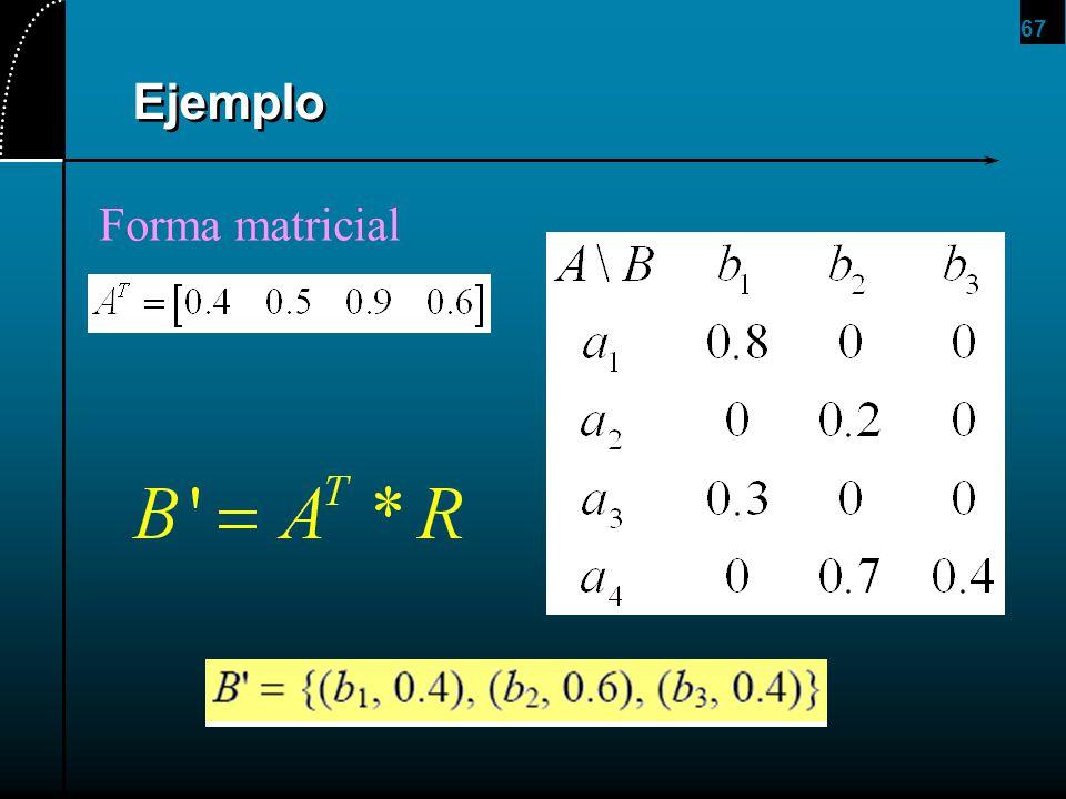 67 Ejemplo Forma matricial