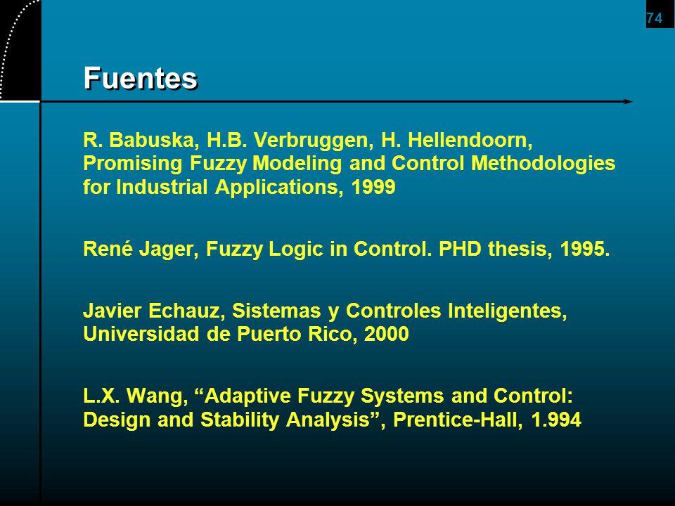 74 Fuentes R. Babuska, H.B. Verbruggen, H. Hellendoorn, Promising Fuzzy Modeling and Control Methodologies for Industrial Applications, 1999 René Jage