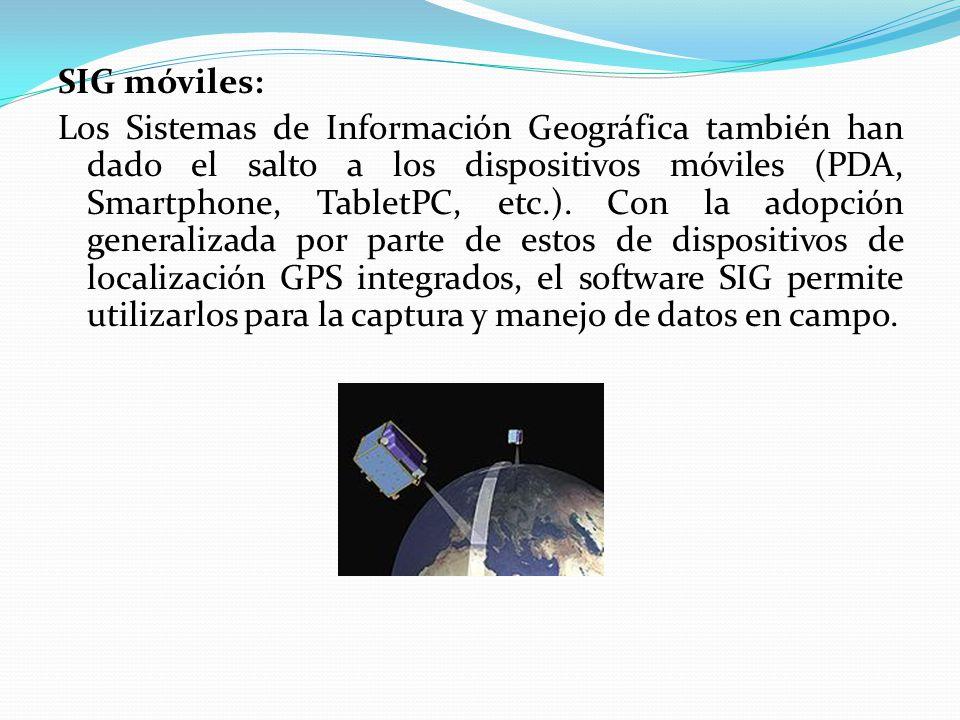 Software S.I.G La información geográfica puede ser consultada, transferida, transformada, superpuesta, procesada y mostradas utilizando numerosas aplicaciones de software.