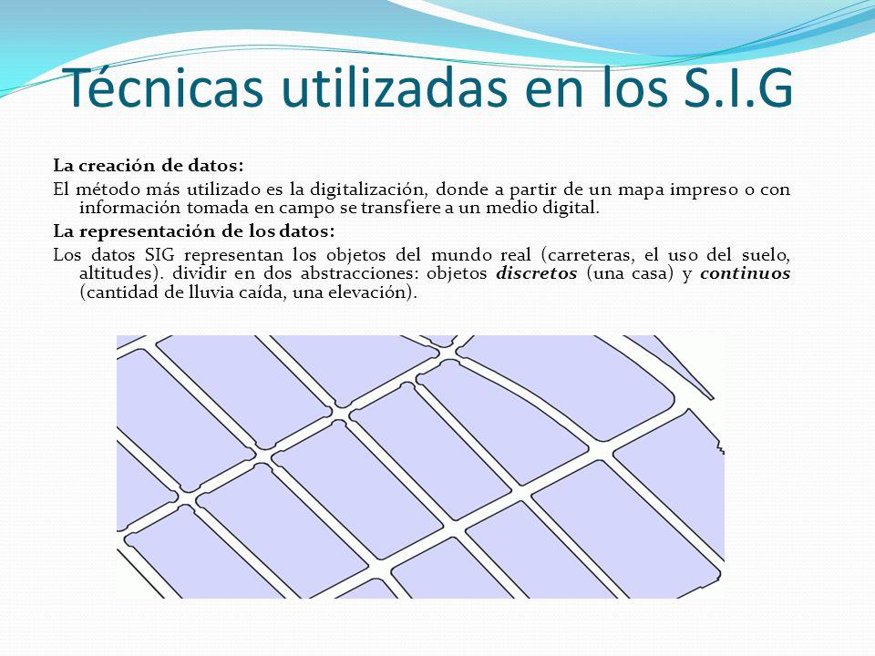 Técnicas utilizadas en los S.I.G La creación de datos: El método más utilizado es la digitalización, donde a partir de un mapa impreso o con información tomada en campo se transfiere a un medio digital.