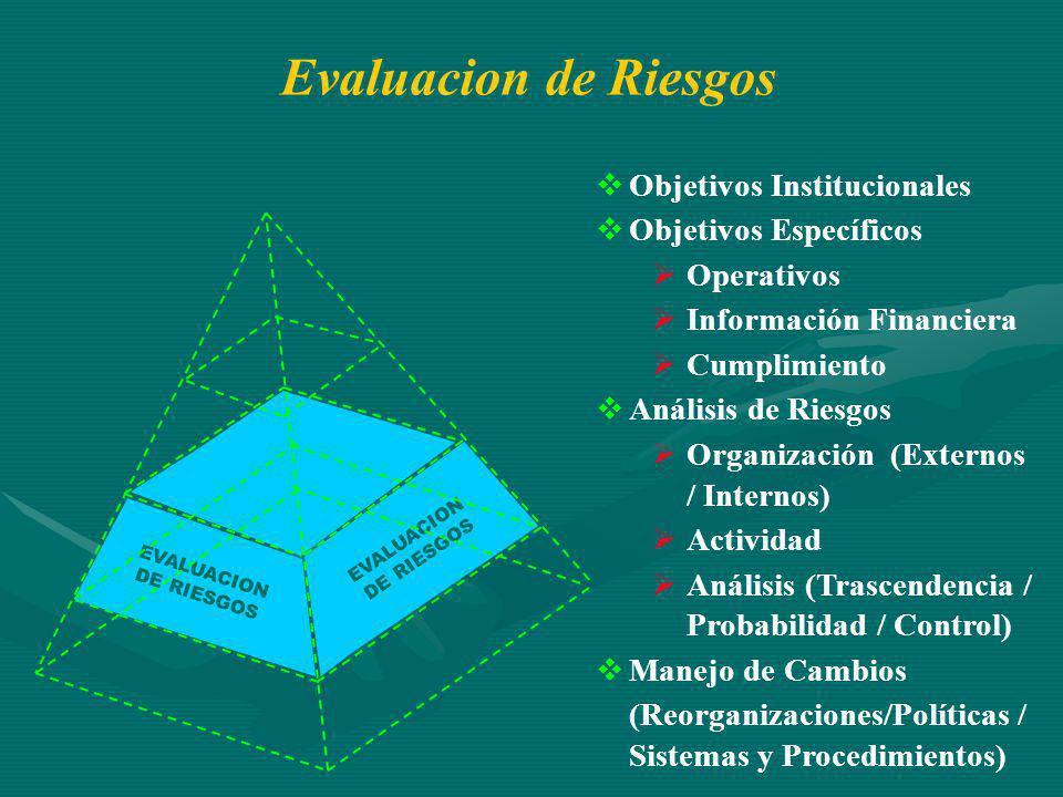 EVALUACION DE RIESGOS Objetivos Institucionales Objetivos Específicos Operativos Información Financiera Cumplimiento Análisis de Riesgos Organización (Externos / Internos) Actividad Análisis (Trascendencia / Probabilidad / Control) Manejo de Cambios (Reorganizaciones/Políticas / Sistemas y Procedimientos) Evaluacion de Riesgos