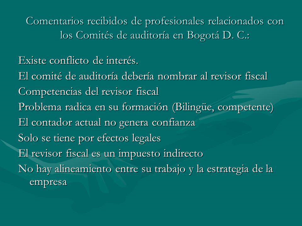 Comentarios recibidos de profesionales relacionados con los Comités de auditoría en Bogotá D. C.: Existe conflicto de interés. El comité de auditoría