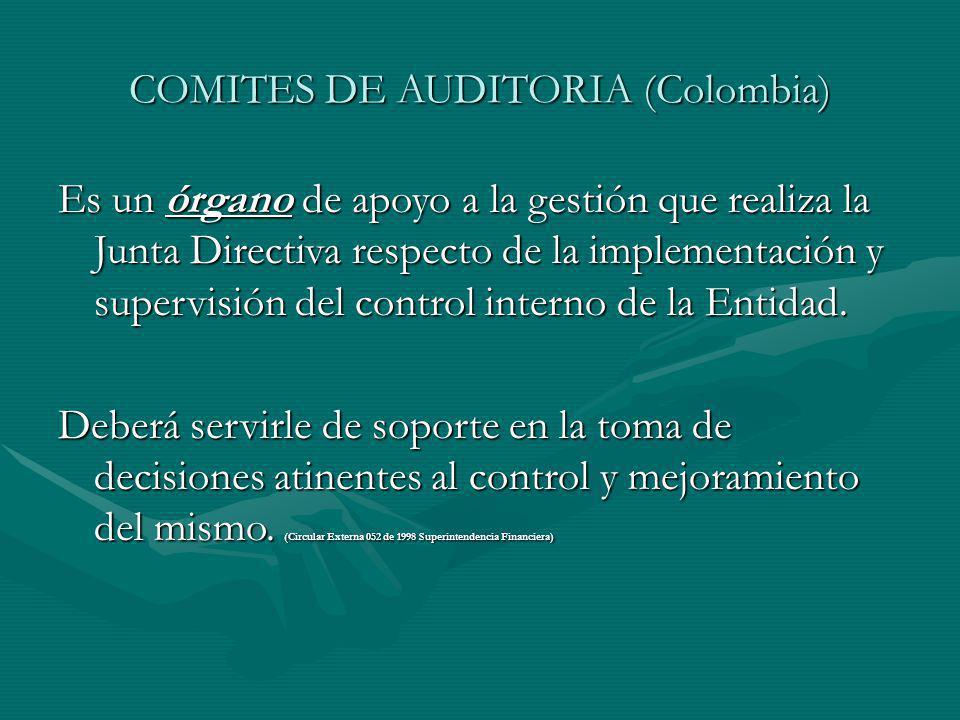COMITES DE AUDITORIA (Colombia) Es un órgano de apoyo a la gestión que realiza la Junta Directiva respecto de la implementación y supervisión del control interno de la Entidad.