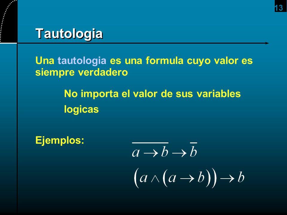 13 Tautologia Una tautologia es una formula cuyo valor es siempre verdadero No importa el valor de sus variables logicas Ejemplos: