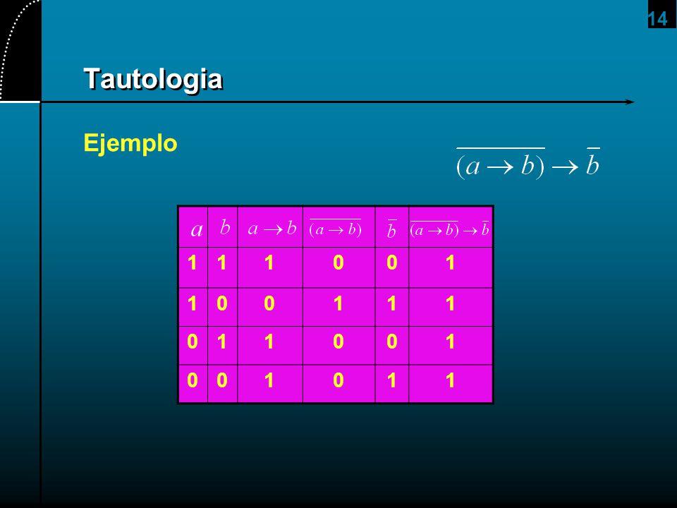 14 Tautologia Ejemplo 111001 100111 011001 001011