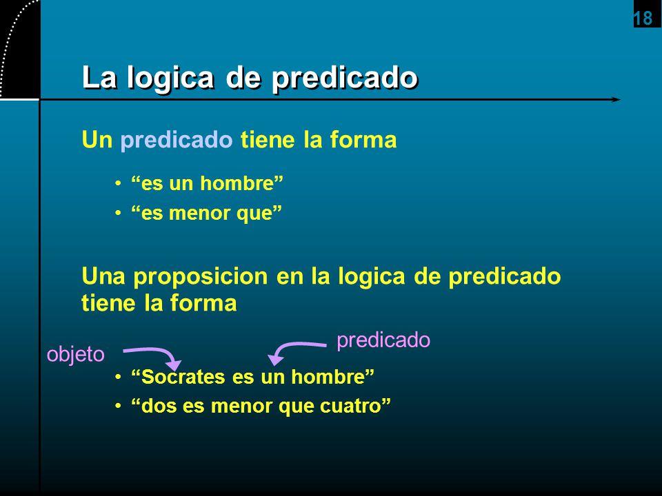 18 La logica de predicado Un predicado tiene la forma es un hombre es menor que Una proposicion en la logica de predicado tiene la forma Socrates es u