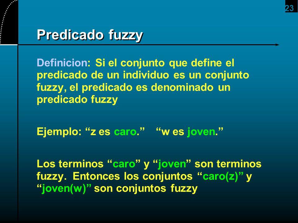 23 Predicado fuzzy Definicion: Si el conjunto que define el predicado de un individuo es un conjunto fuzzy, el predicado es denominado un predicado fu