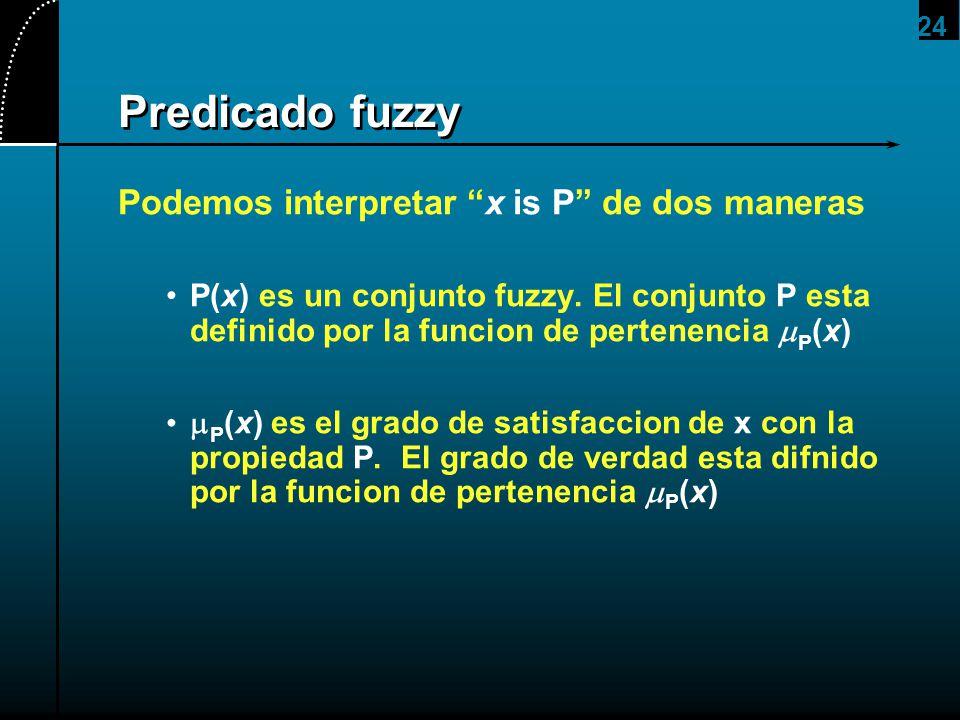 24 Predicado fuzzy Podemos interpretar x is P de dos maneras P(x) es un conjunto fuzzy. El conjunto P esta definido por la funcion de pertenencia P (x