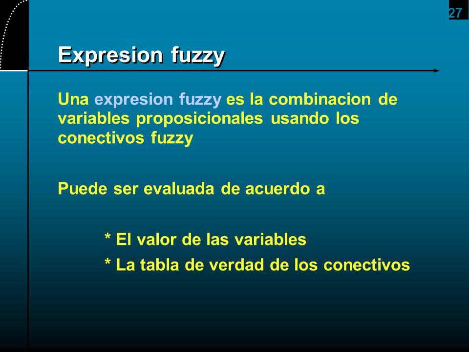 27 Expresion fuzzy Una expresion fuzzy es la combinacion de variables proposicionales usando los conectivos fuzzy Puede ser evaluada de acuerdo a * El
