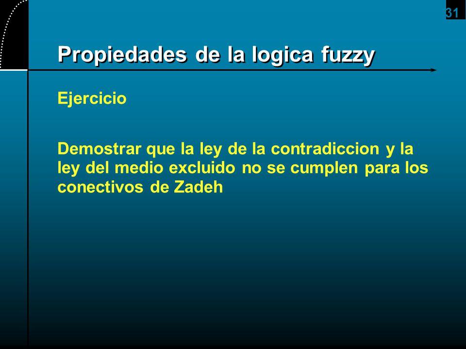 31 Propiedades de la logica fuzzy Ejercicio Demostrar que la ley de la contradiccion y la ley del medio excluido no se cumplen para los conectivos de