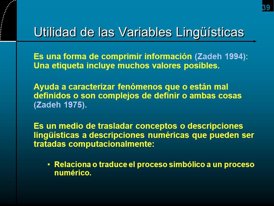 39 Utilidad de las Variables Lingüísticas Es una forma de comprimir información (Zadeh 1994): Una etiqueta incluye muchos valores posibles. Ayuda a ca