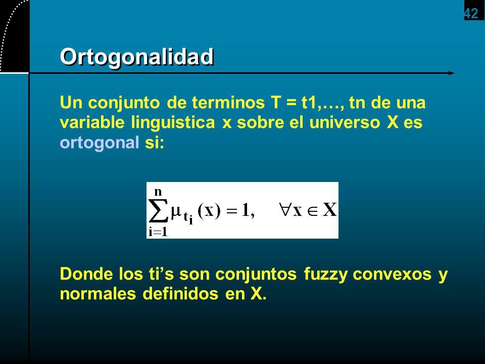 42 Ortogonalidad Un conjunto de terminos T = t1,…, tn de una variable linguistica x sobre el universo X es ortogonal si: Donde los tis son conjuntos f