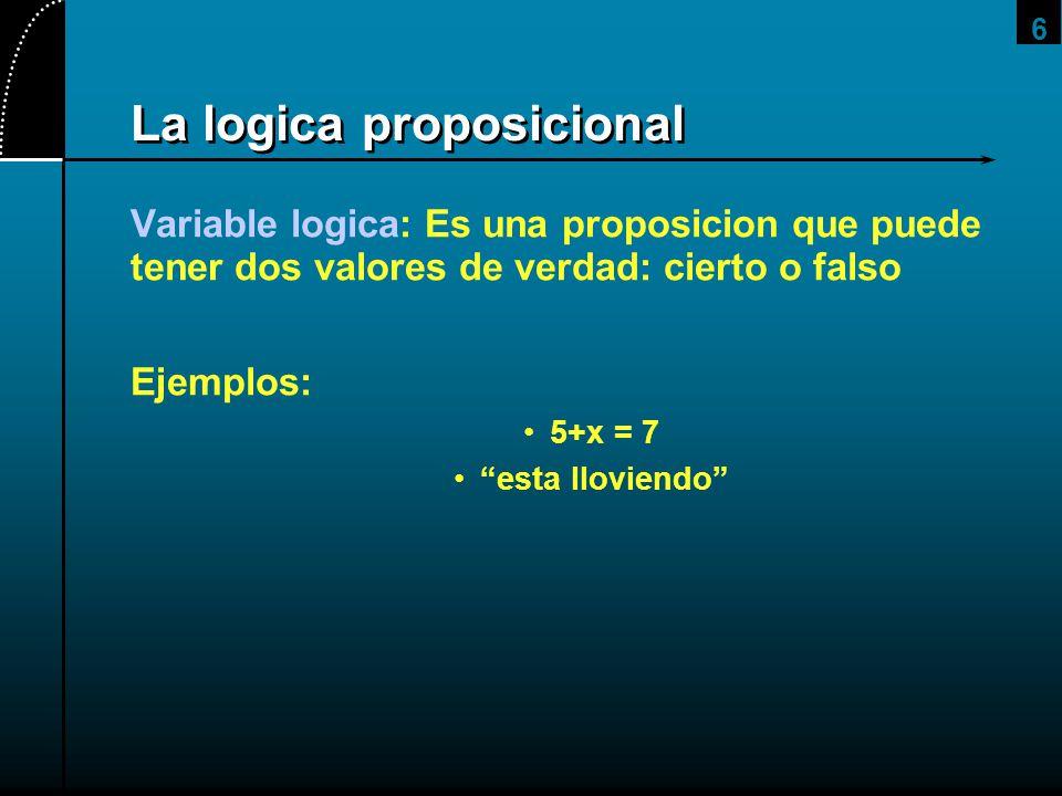 6 La logica proposicional Variable logica: Es una proposicion que puede tener dos valores de verdad: cierto o falso Ejemplos: 5+x = 7 esta lloviendo