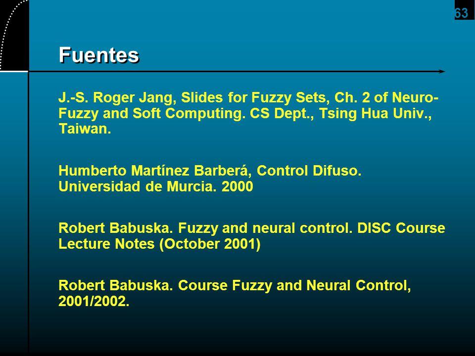 63 Fuentes J.-S. Roger Jang, Slides for Fuzzy Sets, Ch. 2 of Neuro- Fuzzy and Soft Computing. CS Dept., Tsing Hua Univ., Taiwan. Humberto Martínez Bar