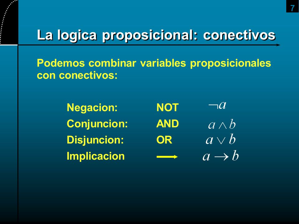 7 La logica proposicional: conectivos Podemos combinar variables proposicionales con conectivos: Negacion:NOT Conjuncion:AND Disjuncion:OR Implicacion