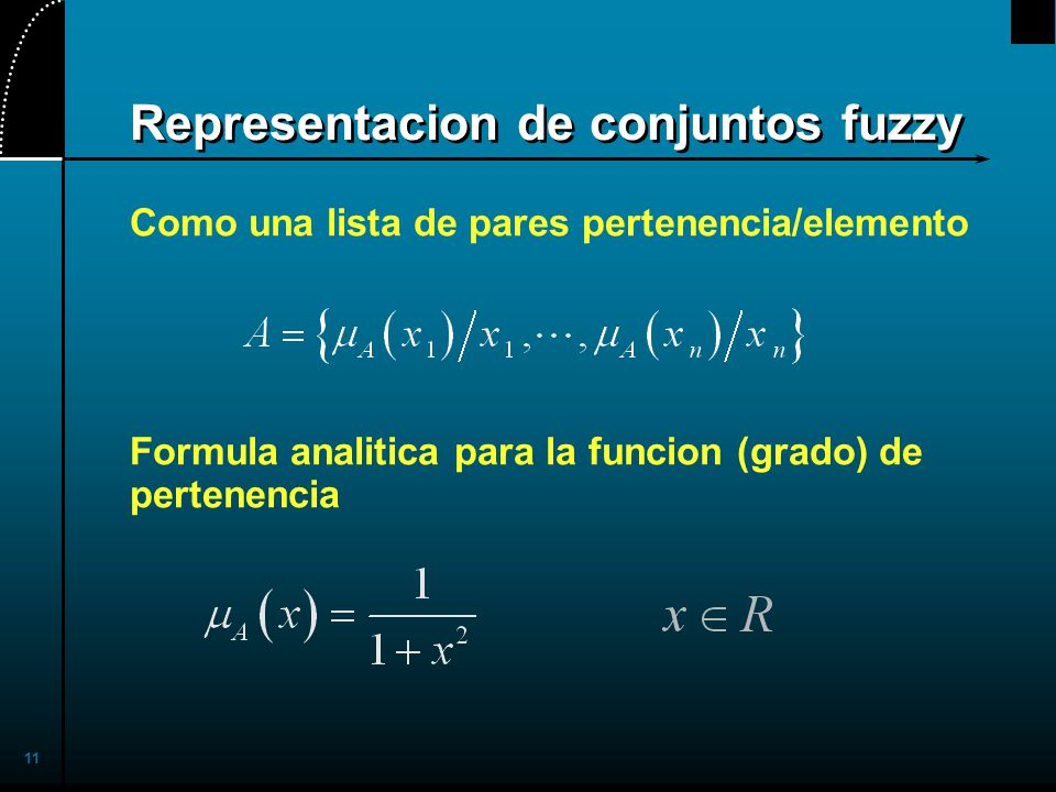 11 Representacion de conjuntos fuzzy Como una lista de pares pertenencia/elemento Formula analitica para la funcion (grado) de pertenencia
