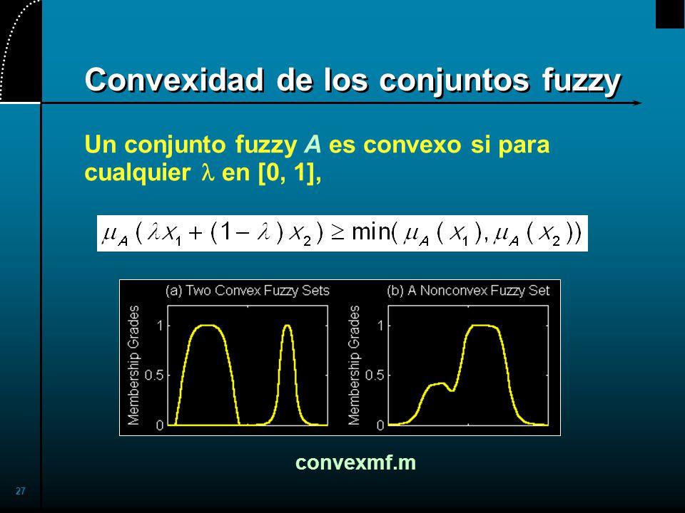 27 Convexidad de los conjuntos fuzzy Un conjunto fuzzy A es convexo si para cualquier en [0, 1], convexmf.m